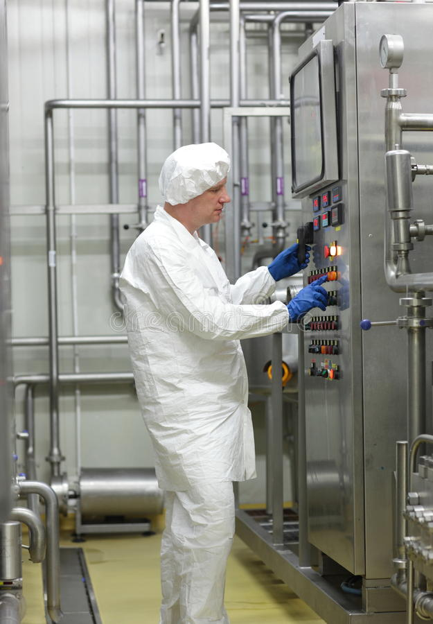 Biotechnology Technician Controlling Industrial Process Stock