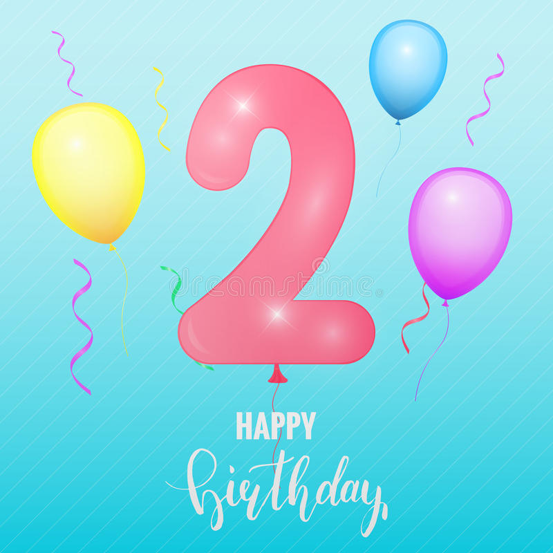 Birthday Anniversary Card Balloon Number Two Stock Vector