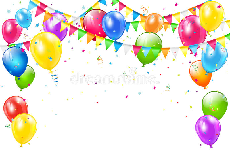 Birthday Background With Balloons And Pennants On White Stock Vector - birthday backround