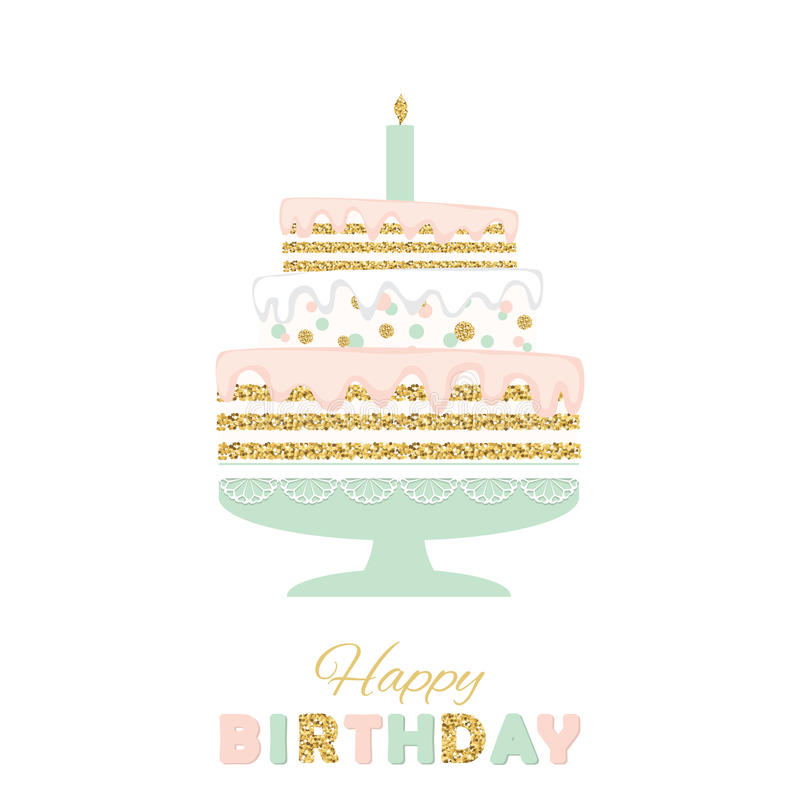 ... Birthday Cake With Glitter Isolated On White Greeting Card   Birthday  Cake Card Template ... Photo