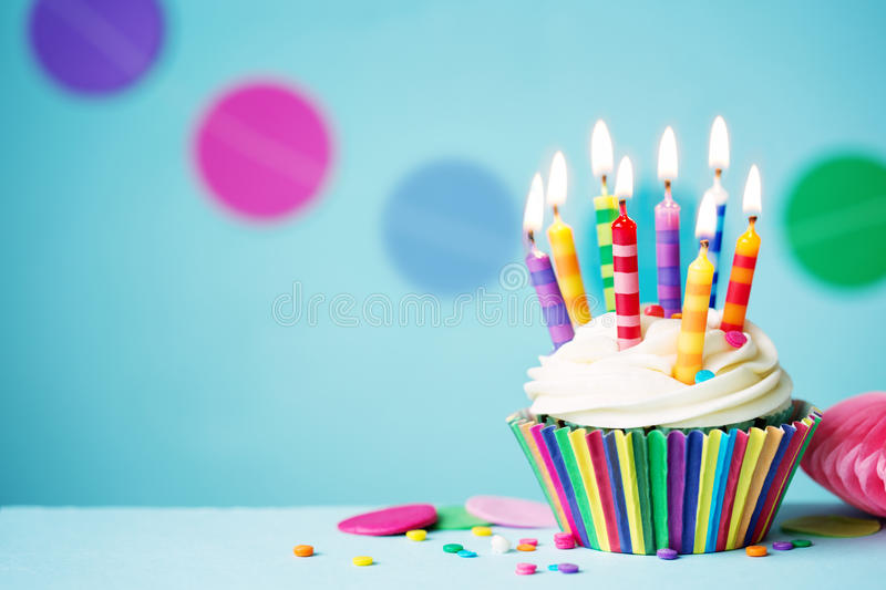 Birthday cupcake stock photo Image of party, multicolored - 64923872