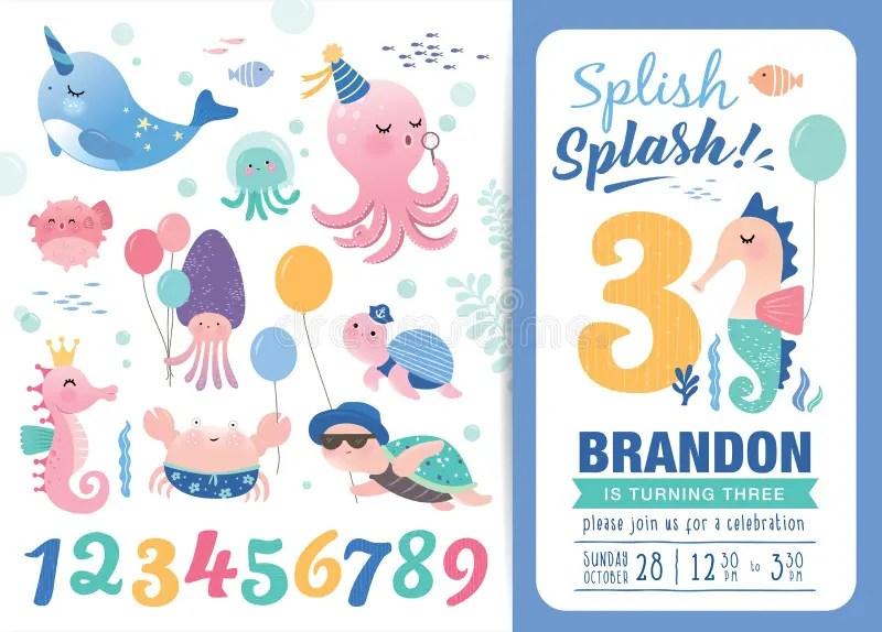 Birthday Party Invitation Card Template Stock Vector - Illustration