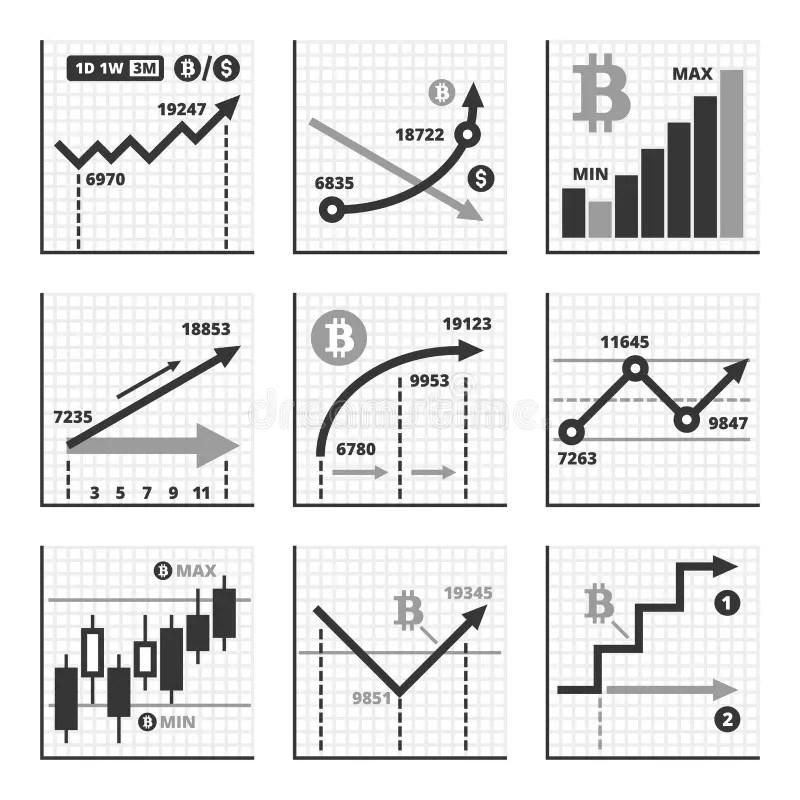 Bitcoin Growth Up Chart Graphics Set Vector Stock Vector