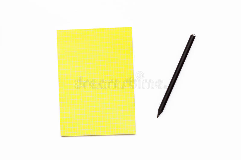 Black Pencil And A Yellow Notepad On A White Background Minimal - meeting note pad