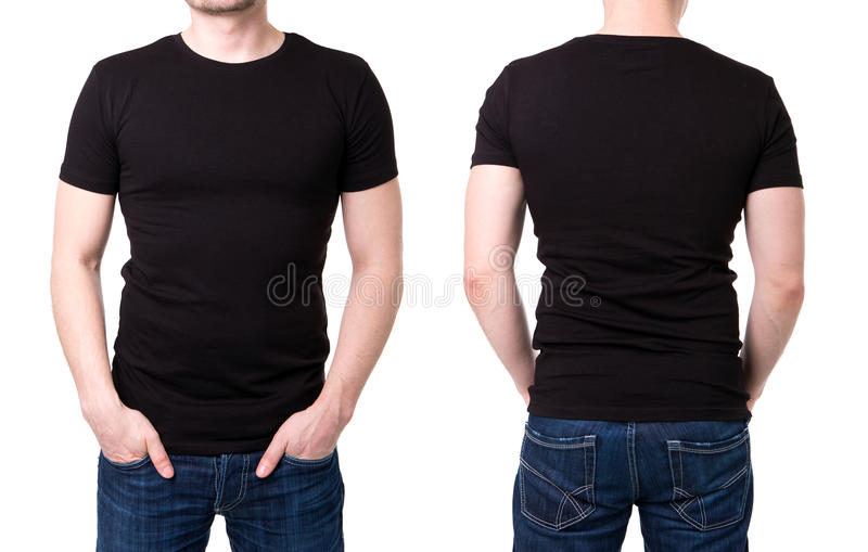 Black T Shirt On A Young Man Template Stock Photo - Image of black - t shirt template