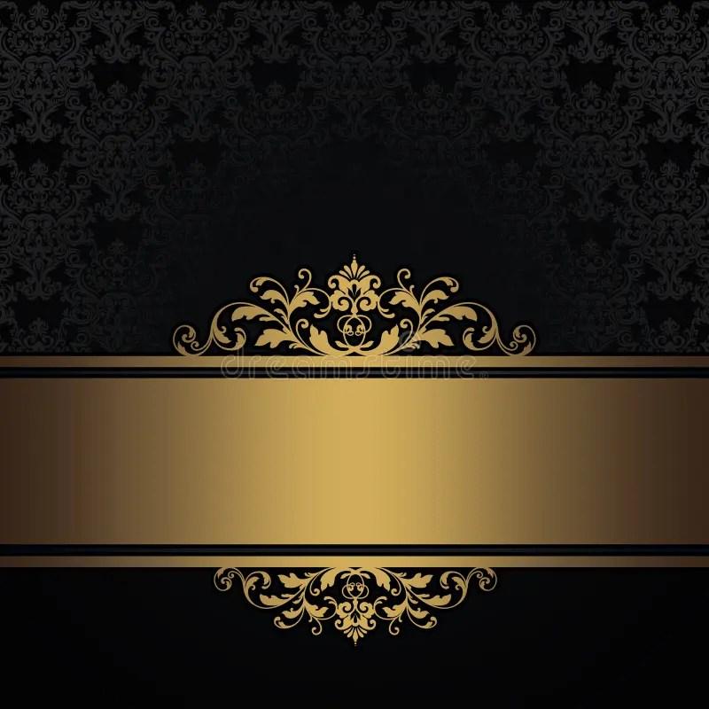 Wallpaper Black And White Damask Black Vintage Background With Gold Border Stock
