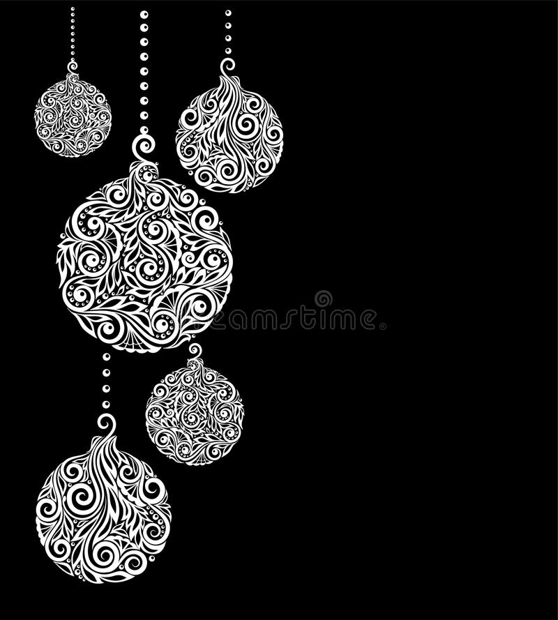 Black And White Christmas Background With Christmas Balls Hanging - christmas cards black and white