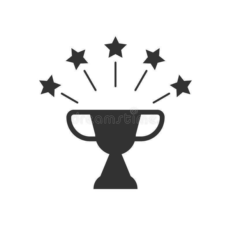 Black And White Cup With Stars; Sport Award Stock Vector
