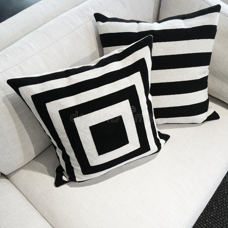 Black And White Cushions On A Sofa Stock Photo Image Of - Sofa Cushions Black And White