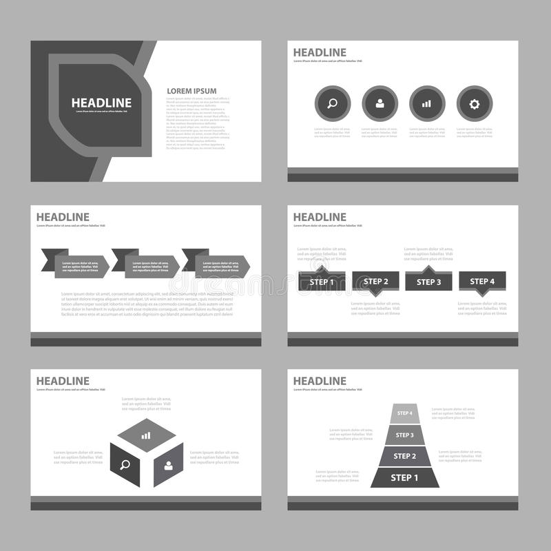 Black And White Infographic Elements Icon Presentation Template Flat