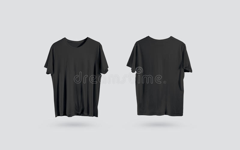 Blank Black T-shirt Front And Back Side View, Design Mockup Stock
