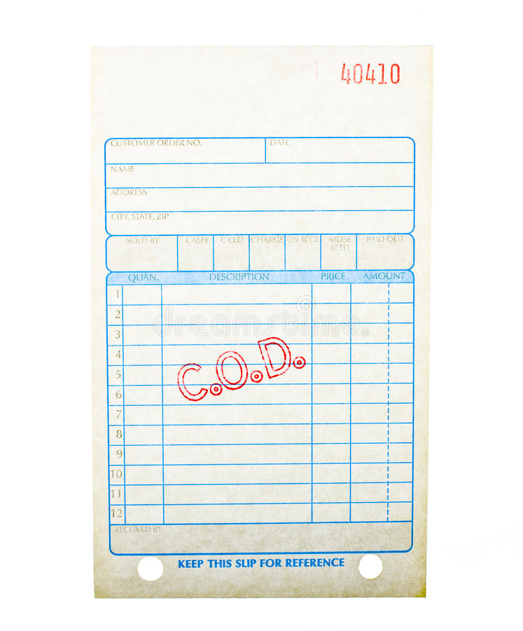 Blank COD invoice stock photo Image of blank, receipt - 15313770 - blank reciept