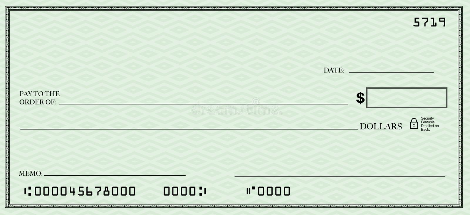 Blank Check With Open Space For Your Text Stock Illustration