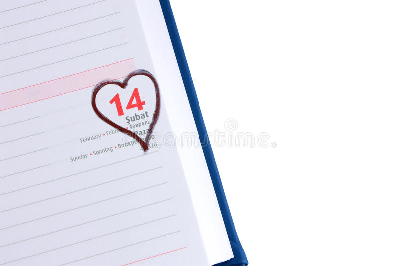 Blank Diary Page 14 February With Copyspace Stock Image - Image of - blank diary page