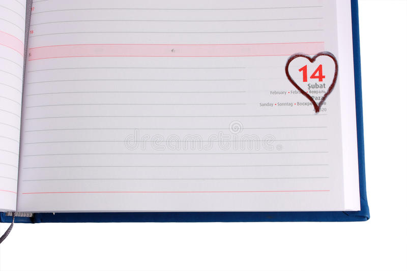 Blank Diary Page Marked 14 February - Horizontal Stock Photo - Image - blank diary page