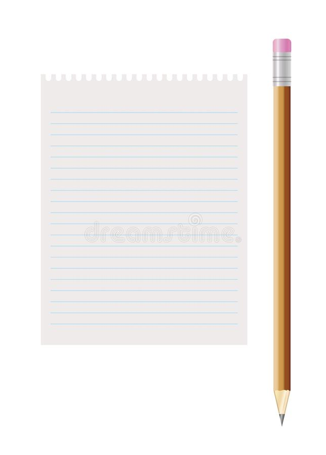 Blank Lined Paper And Pencil With Eraser Stock Illustration - blank lined writing paper