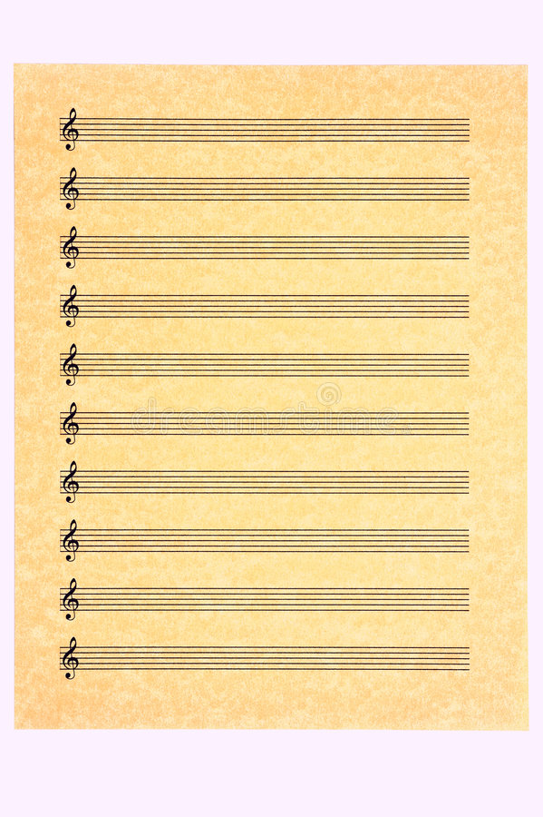 Blank Music Sheet-Treble Clef Stock Image - Image of golden - music paper template