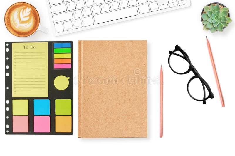 Blank Notebook Cover Page Todo List On Modern White Office Desk
