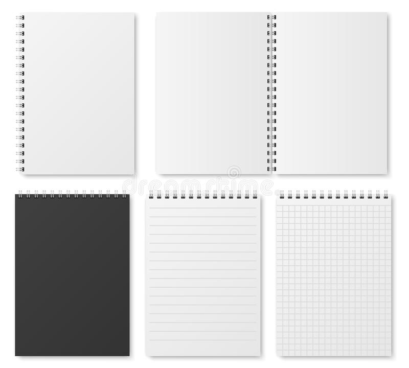 Blank Open And Closed Realistic Notebook, Organizer And Diary Vector - diary paper template