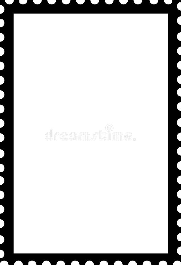Blank Open Stamp Portrait Template Black On White Stock Illustration - stamp template