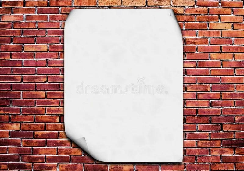 Blank poster on brick wall stock illustration Illustration of back