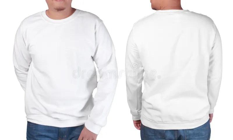 White Sweater Long Sleeved Shirt Mockup Template Stock Image - Image