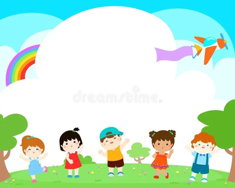 Blank Template Happy Kids Poster Design  Stock Vector - blank brochure templates for kids