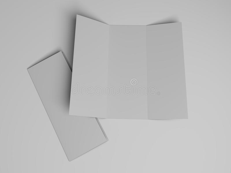 Blank Tri-fold Brochure Design Template 3D Stock Illustration - blank tri fold brochure template