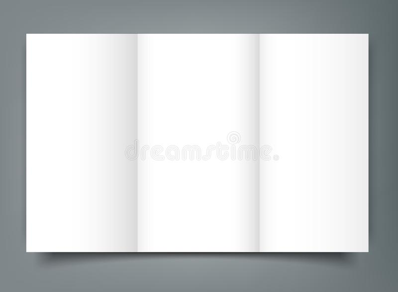Blank Tri Fold Brochure Mockup Cover Template Isolated Stock Vector