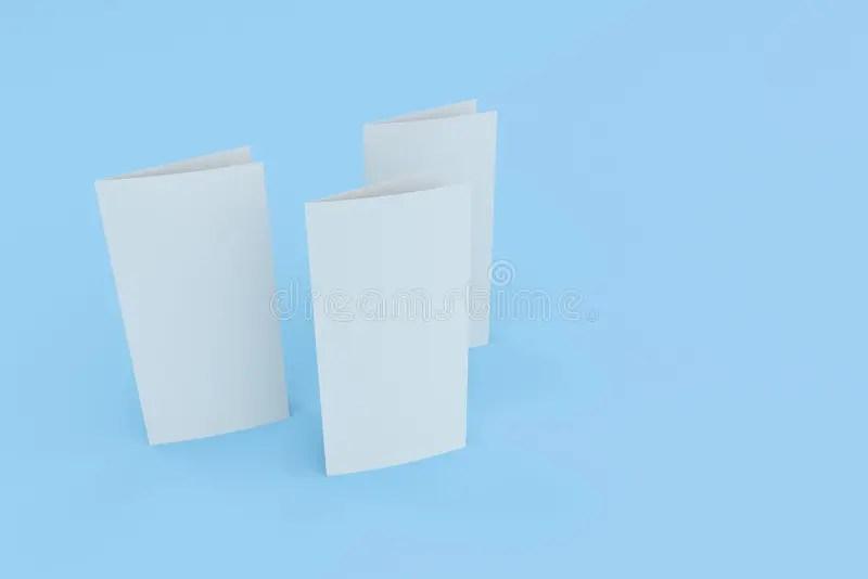 Blank White Two Fold Brochure Mockup On Blue Background Stock - two fold brochure