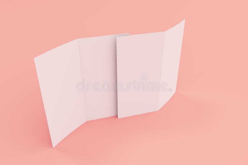 Blank White Two Fold Brochure Mockup On Red Background Stock - two fold brochure