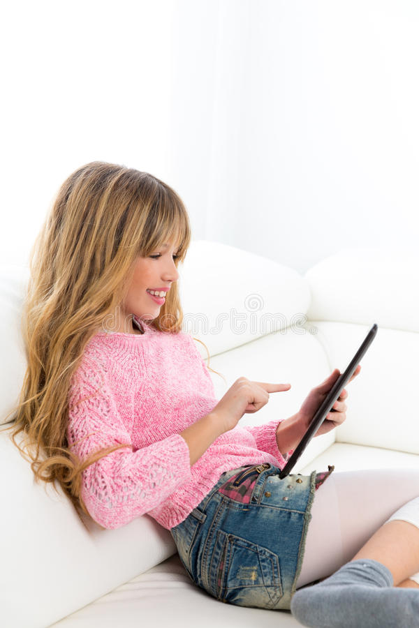 Free Sexmovie Blond Sofa Fashion Victim Kid Girl At Backstage Wardrobe Stock Image