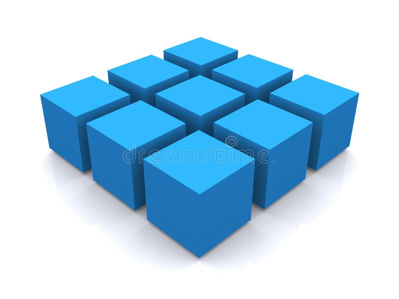 Blue 3d cube square stock illustration Illustration of three - 2321554