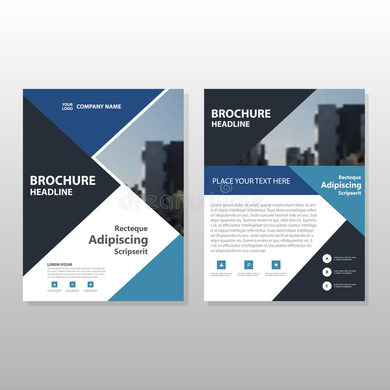 Blue Black Triangle Vector Annual Report Leaflet Brochure Flyer