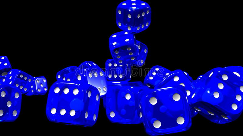 Blue Dice On Black Background Stock Video - Video of blue, game