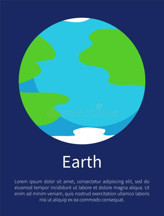 Blue Earth On Informative Poster With Sample Text Stock Vector