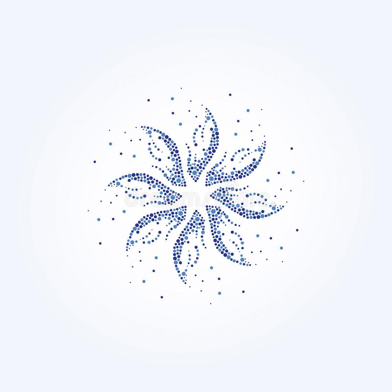 Blue Flower, Beauty Logo Template Bubble Design Abstract Stock