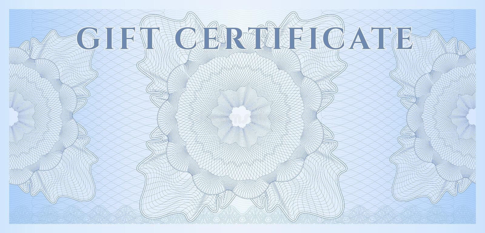Blue Gift Certificate (Voucher) Template Pattern Royalty Free - money coupon template