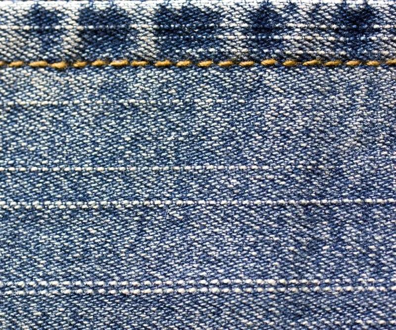 Blue Jeans Cloth Stitching With Orange Thread Stock Photo - Image