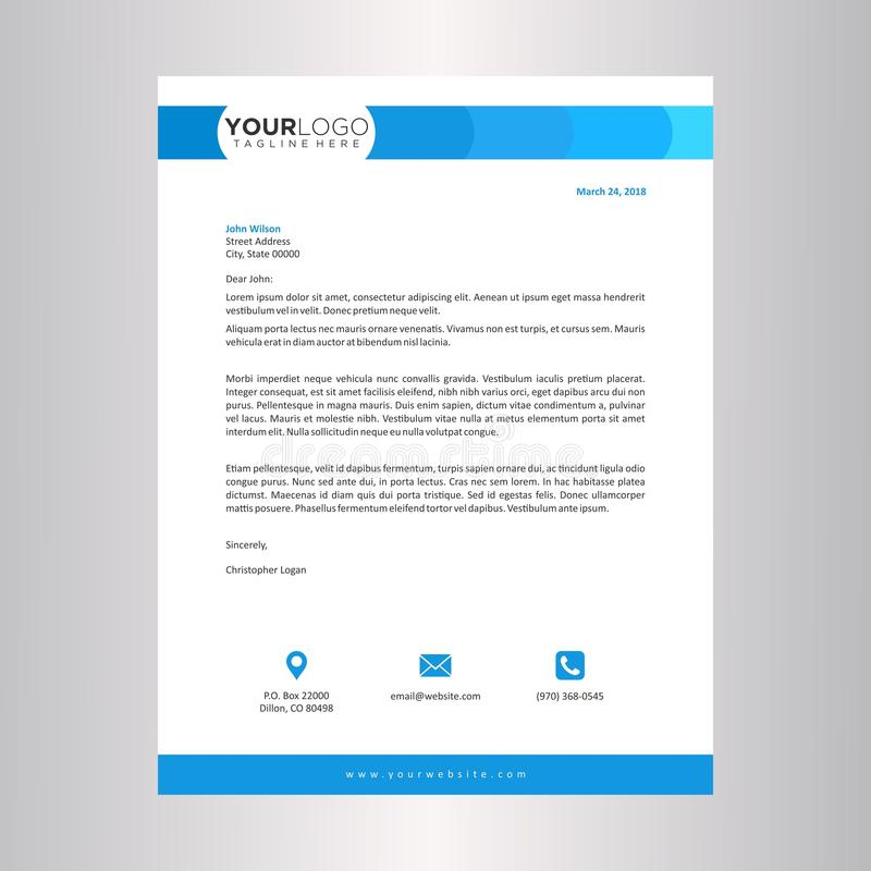 Blue Letterhead Design Template Stock Vector - Illustration of - letterhead layout