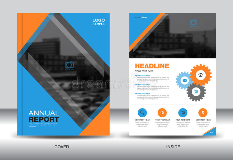 Blue And Orange Annual Report Template,cover Design,brochure Stock