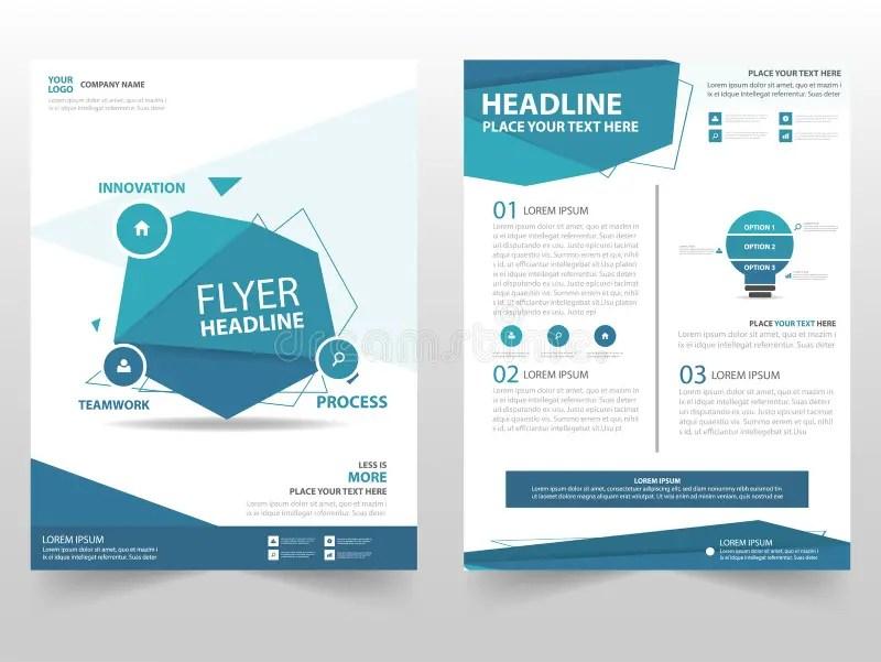Blue Polygon Vector Brochure Leaflet Flyer Template Design, Book