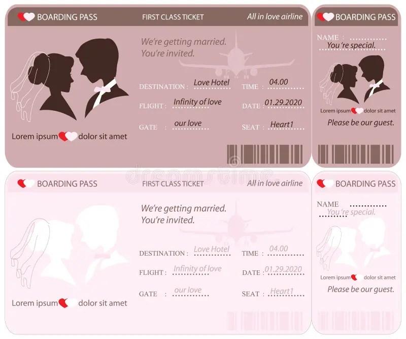 Boarding Pass Ticket Wedding Invitation Template Stock Vector