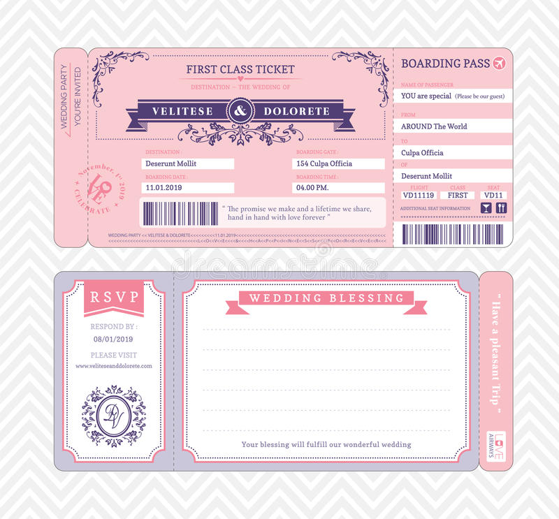 Boarding Pass Wedding Invitation Template Stock Vector - boarding pass template
