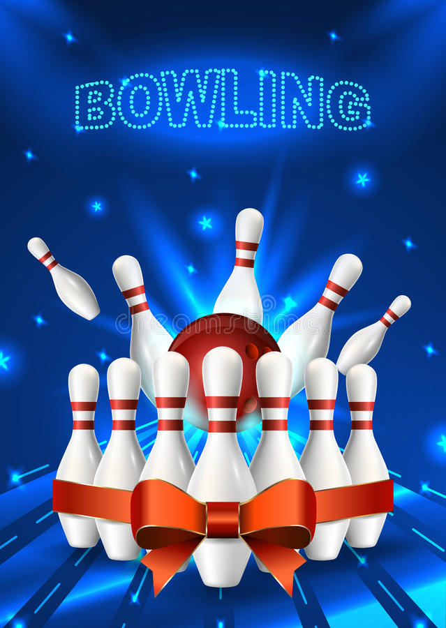 Bowling Flyer Template A6 Format Size Vector Clip Art Illustration