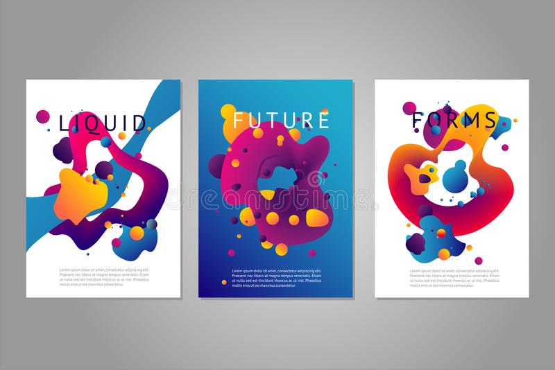 Vector Posters Set With Abstract Liquid Forms Bright Color Fluid - liquid particles