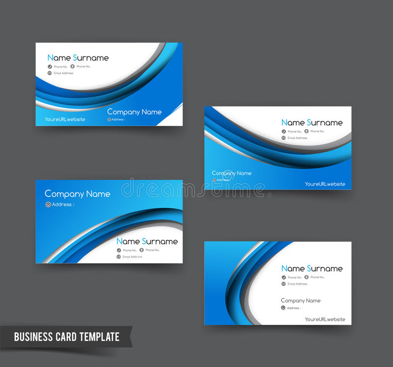 Business Card Template Set 50 Blue Curve Element For Modern Bus - bus pass template