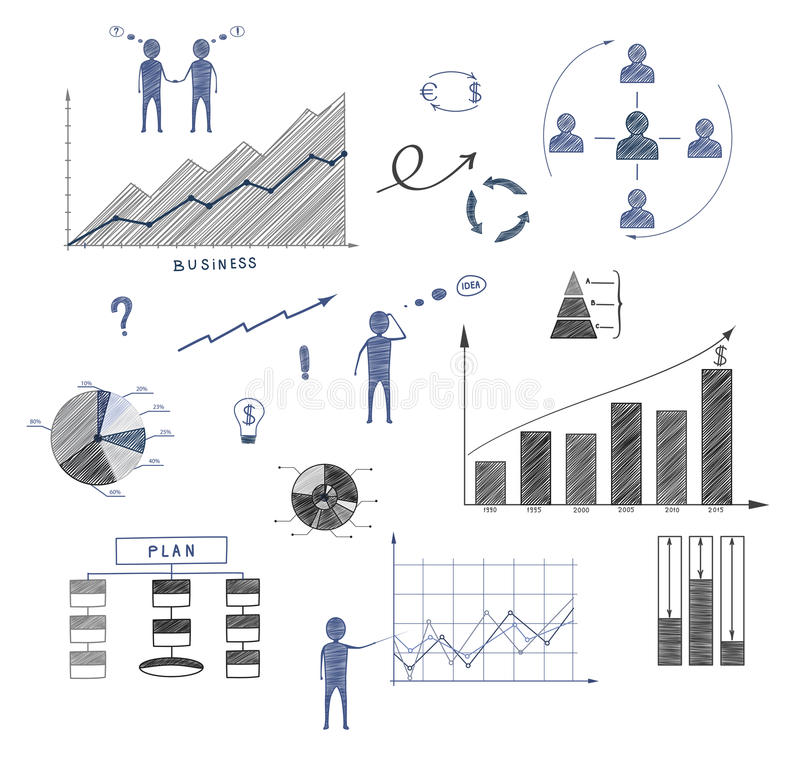 Business Doodle, Elements Of Infographics, Business Plan, Financ - business plan elements