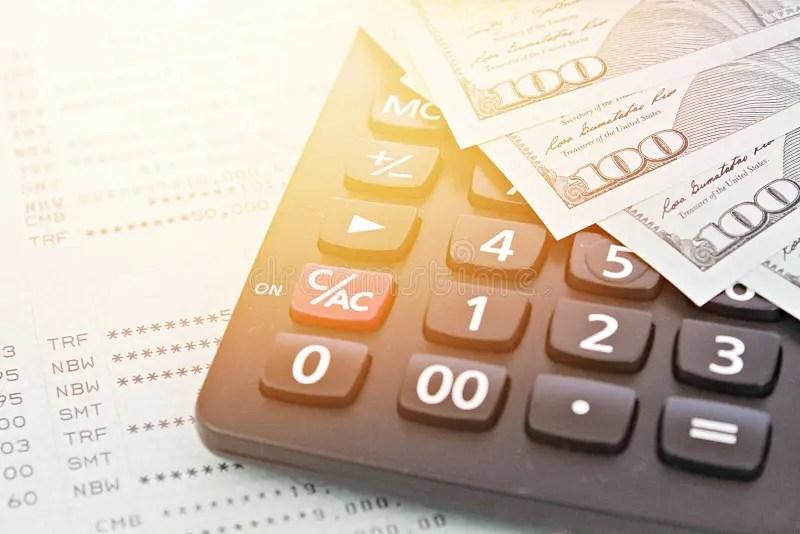 American Dollars Cash Money, Calculator On Savings Account Passbook