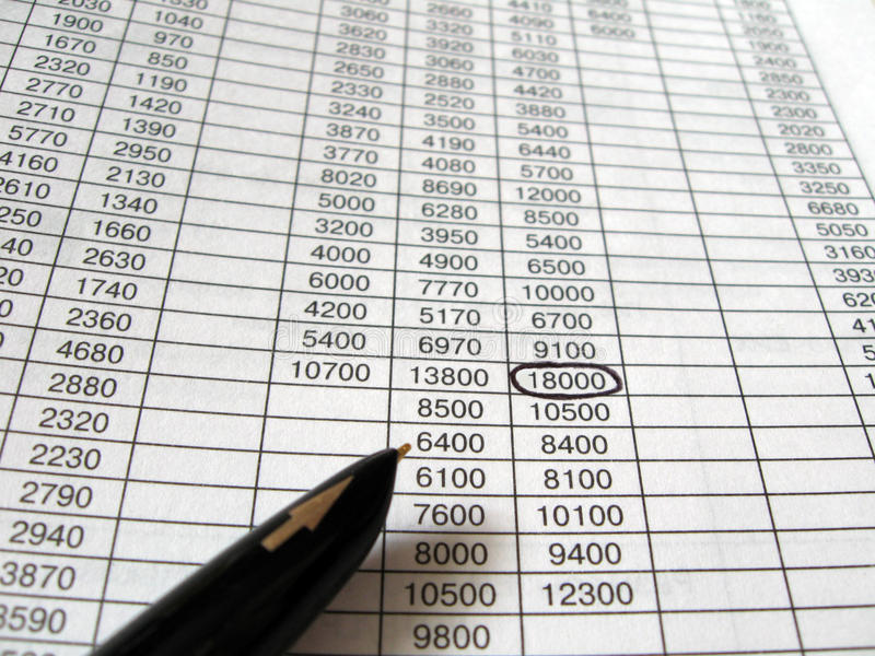 Business Financial Spreadsheets, Black Ink Pen Stock Image - Image